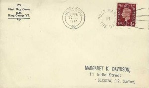 1937 King George 1½d Brown Definitive, Display FDC, Post Early in the Day Glasgow Slogan