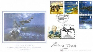 2003 Guernsey Dam Busters, Buckingham Covers  Sp3 FDC, Dambusters Raid 617 Squadron Guernsey Post Office H/S, Double Dated, signed by Richard Todd