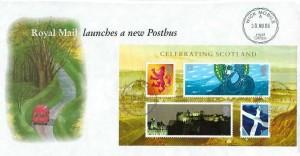 2006 Celebrating Scotland, Royal Mail Postbus FDC, Wick Mobile Post Office cds