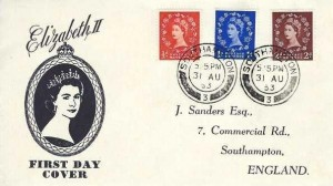 1953, QEII Wilding Definitive Issue, ½d, 1d, 2d  J Sanders FDC, Southampton 3 cds
