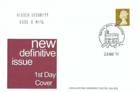 2011 1st Class Gold Shelf Adhesive Hidden Security Code S M11L Definitive Issue, A G Bond FDC Royal Mail Windsor H/S