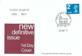 2011 2nd  Class Large Letter Shelf Adhesive Hidden Security Code MA11 Definitive Issue, A G Bond FDC Royal Mail Windsor H/S