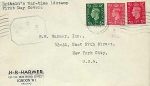 1941 King George VI 1d Pale Scarlet, H R Harmer Stamp Dealer FDC, London Cancel to New York USA