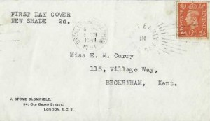 1941 King George VI 2d Pale Orange, J. Stone Blomfield Envelope FDC, Bromley & Beckenham Post Early in the Day Slogan