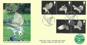 2003 Birds of Prey, Covercraft Barn Owl Trust Devon FDC, Owl strip of 5 1st Class only, Birds of Prey Sandy Bedfordshire H/S