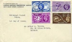 1949 Universal Postal Union, Norfolk Hospitals Contributors' Association  FDC, Norwich Norfolk Cancel