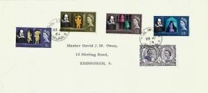 1964 Shakespeare Festival, University of Edinburgh Envelope FDC, Royal Infirmary Edinburgh 3 cds