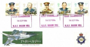 1986 The Royal Air Force, Royal MAil FDC, Main Guardroom RAF Biggin Hill (Red) H/S+ Ministry of Defence Police Label