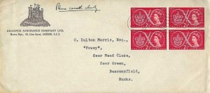 1957 Scout Jubilee Jamboree, Block of 4 x2½d stamps, Alliance Assurance Company Ltd FDC, London P Cancel