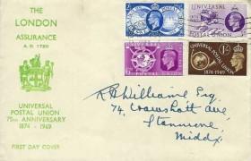 1949 Universal Postal Union, The London Assurance FDC, London SW1 Cancel
