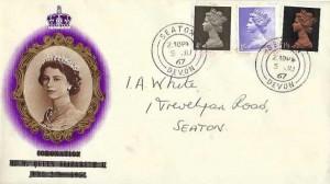 1967 4d, 1/-, 1/9d, QEII Definitive issue, 1953 Coronation British Philatelic Association & Philatelic Traders' Society FDC, Seaton Devon cds