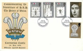 1969 Prince of Wales Investiture, Thames FDC, First Day of Investiture Caernarvon FDI