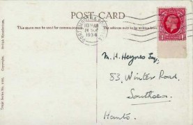 1934 1d Scarlet, King George V Photogravure issue, Comic Postcard series  No.1006 fdc, Portsmouth & Southsea Cancel