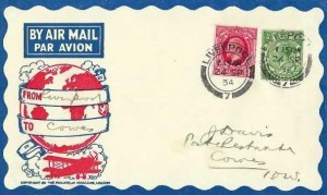 1934 1d Scarlet King George V Photogravure issue, The Philatelic Magazine London Air Mail FDC, Liverpool 7 cds