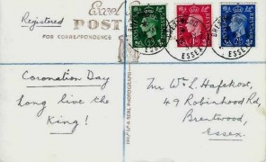 1937 ½d, 1d, 2½d, King George VI Coronation Day Postcard, Brentwood Essex cds