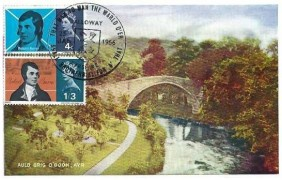 1966 Robert Burns, Davidson's Coloured Series Postcard of Auld Brig O'Doon Ayr, Alloway Ayrshire H/S