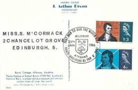 1966 Robert Burns, J Arthur Dixon Postcard of Burns' Cottage Alloway Ayrshire, Alloway Ayrshire H/S