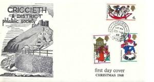 1968 Christmas, Criccieth & District Philatelic Society FDC, Criccieth Caernarvonshire cds