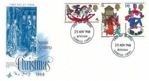 1968 Christmas, Blue Artcraft FDC, Bethlehem Llandeilo Carms. FDI