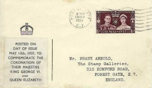 1937 King George VI Coronation, Crown Illustrated FDC, Forest Gate E7 Cancel