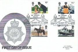 1979 Police, Port of London Official FDC, Port of London Police London E16 H/S