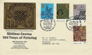 1976 William Caxton, Plymouth College Official FDC, William Caxton 500 Anniversary of Printing 1476 - 1976 Plymouth Devon H/S