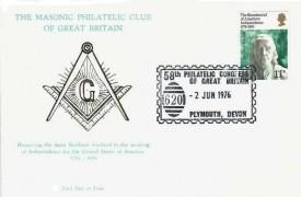 1976 USA Bicentenary, The Masonic Philatelic Club of Great Britain FDC, 58th Philatelic Congress of Great Britain Plymouth Devon