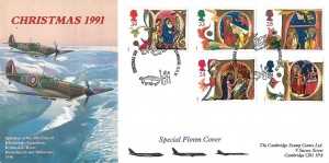 1991 Christmas, Cambridge Stamp Centre Official FDC, Christmas 1991 Cambridge H/S