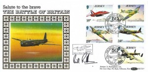 1990 Jersey Battle of Britain, Benham BLCS57 Official FDC, 50th Anniversary The Battle of Britain Jersey H/S, Signed by Bill Randle, Carried in a Lancaster on the Battle of Britain Memorial Flight