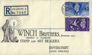 1946 Victory, Registered Winch Brothers Stamp & Art Dealers FDC, St. Botolphs Colchester Essex cds