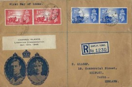 1948 Channel Islands Liberation, Registered B. Allsop Illustrated FDC, Shipley Yorkshire cds