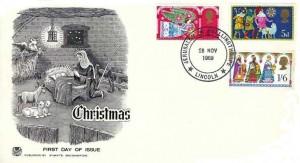 1969 Christmas, Stuart Monochrome FDC, Jerusalem Skellingthorpe Lincoln H/S
