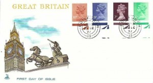 1977 6p, 7p, 9p, 10p Halley Press QEII Definitive Issue, Bottom Margin, Mercury FDC Edinburgh 19 cds