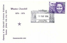 1974 Opening of the Winston Churchill Centenary Exhibition Cover, Churchill Centenary Exhibition Somerset House London WC H/S