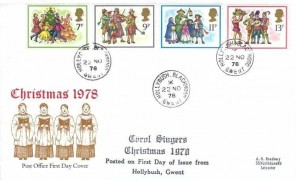 1978 Christmas, Post Office FDC, Hollybush Blackwood Gwent cds,+ Carol Singers Christmas 1978 Posted on First Day of Issue from Hollybush Gwent Cachet