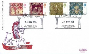1976 Christmas, Post Office FDC Pompeii AD79 An Exhibition at the Royal Academy of Arts London W1 H/S