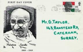 1969 Gandhi, Illustrated FDC, Remember to use the postcode Croydon Slogan