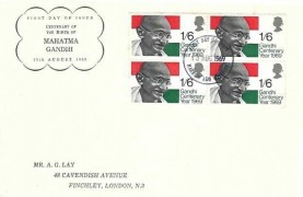 1969 Gandhi, A G Lay FDC, Block of 4, Harrow & Wembley FDI
