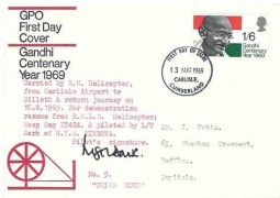 1969 Gandhi, GPO FDC, Carlisle Cumberland FDI, Carried by Helicopter & signed by the Pilot L/T Dark