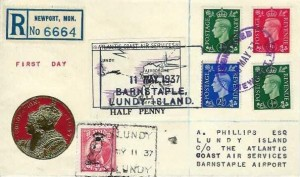 1937 King George VI ½d,1d, 2½d Definitive Issue, Registered Illustrated Lundy Island FDC, Registered Newport Mon.Purple Oval cds,+ Atlantic Coast Services Half Penny Label & Lundy ½d Puffin stamp