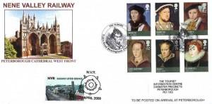 2009 The Tudors, Nene Valley Railway FDC, The Tudors Tudor Road Birmingham H/S, + NVR Railway Letter Service 25p stamp