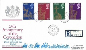 1978 25th Anniversary of the Coronation, Registered Post Office FDC, Queen Elizabeth Ave. Walsall W.Mids. cds+ Cachet