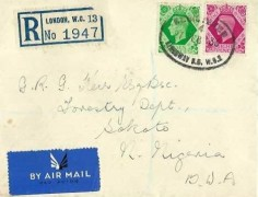 1939 King George VI 7d & 8d Definitive Issue. Registered Plain FDC, Registered Kingsway BO WC2 Oval cds, to Nigeria