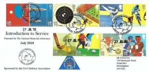 2010 Olympics, Civil Defence Association Official FDC, The National  Memorial Arboretum Alrewas Staffordshire H/S