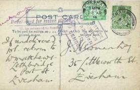 1914 ½d Green Postage Due, Plain Postcard, Evesham cds + Postage Due for return to Sender Cachets