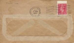 1941 King George VI 1d Pale Scarlet, Plain Window Envelope FDC, Bristol Cancel