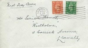 1941 King George VI 2d Pale Orange, Plain FDC, Llanelly Carms. Cancel