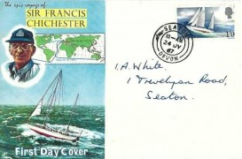 1967 Sir Francis Chichester, Illustrated FDC, Seaton Devon cds