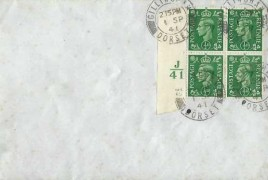 1941 King George VI ½d Pale Green, Block of 4 + J41 Control, Plain FDC, Gillingham Dorset cds