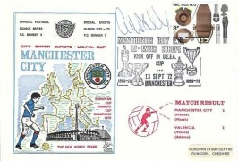 1972 BBC, Dawn Manchester City Official FDC, 3p stamp only, Manchester City Re-Enter Europe Kick off in UEFA Cup Manchester H/S, Signed by Colin Bell